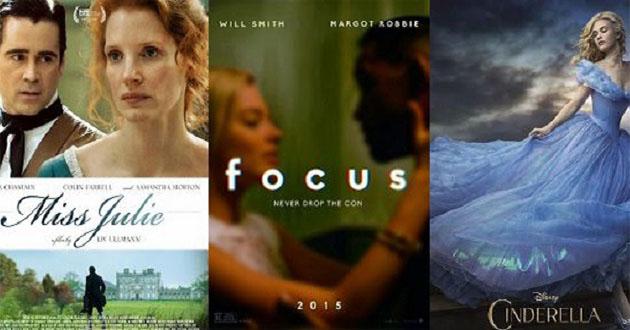 Novos cartazes oficiais para 'Miss Julie', 'Cinderela' e 'Focus'