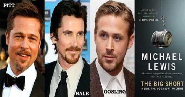 Pitt, Bale e Gosling juntos no drama 'The Big Short'