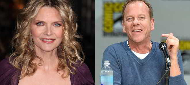 Michelle Pfeiffer ao lado de  Kiefer Sutherland em 'Beat-Up Little Seagull'