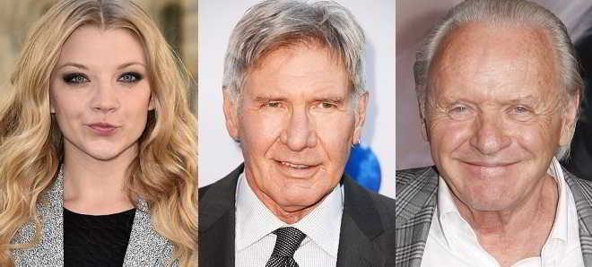 Natalie Dormer, Harrison Ford e Anthony Hopkins em 'Official Secrets'