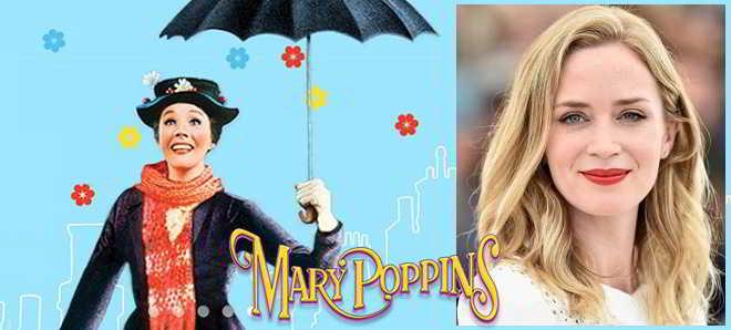 Emily Blunt foi confirmada como a nova Mary Poppins