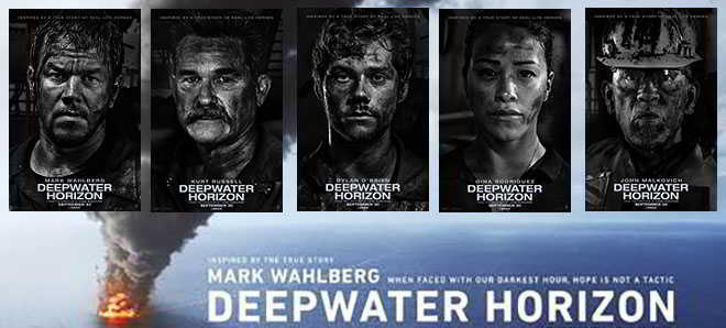 Cinco posters individuais dos protagonistas de 'Deepwater Horizon'