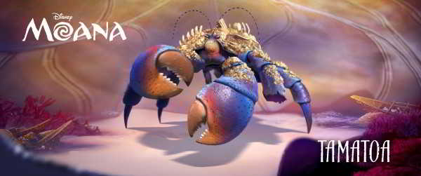 O egoísta e presunçoso carangueijo Tamatoa é interpretado por Jemaine Clement.