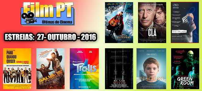 Estreias de Filmes da Semana: 27 de outubro de 2016