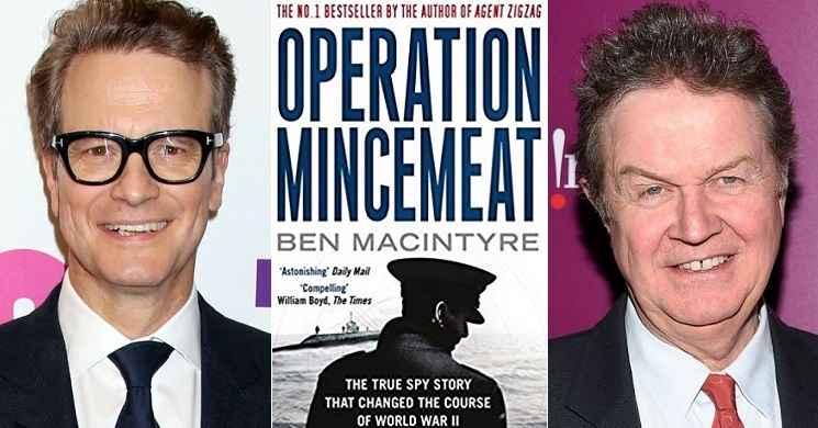 Colin Firth e John Madden no filme Operation Mincemeat