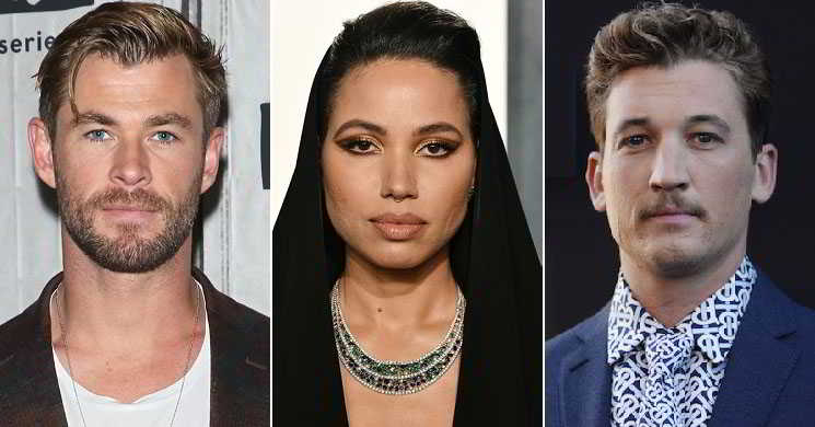 Chris Hemsworth, Jurnee Smollett e Miles Teller no elenco de Spiderhead