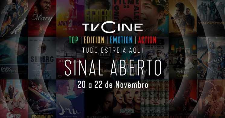 Canais TVCine em sinal aberto de 20 a 22 de novembro